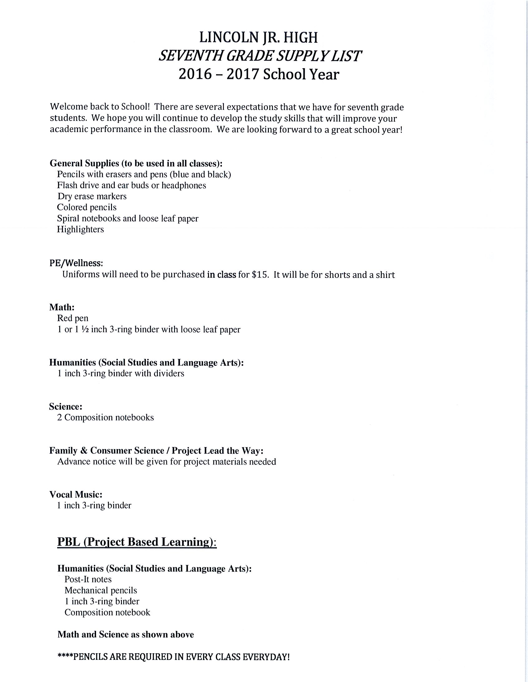 Lincoln Junior High School Supply Lists for 2016-2017 | About the