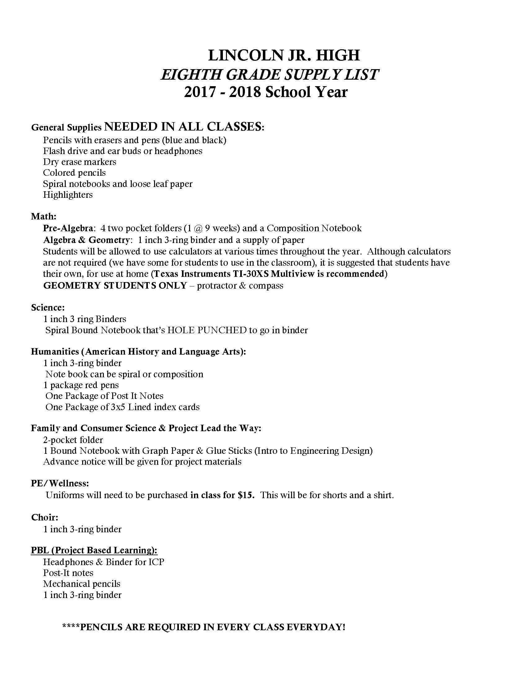 Ljh School Supply List Lincoln Jr High