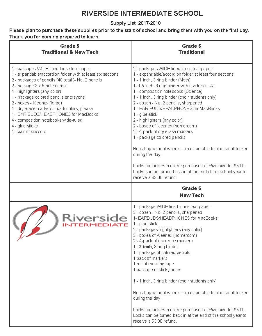 Riverside School Supply List   Riverside Intermediate