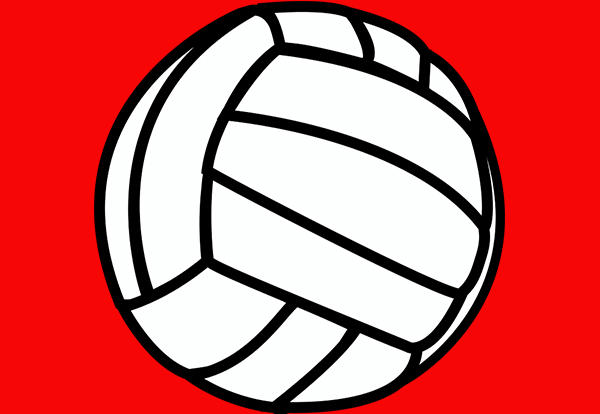 Volleyball image on red background