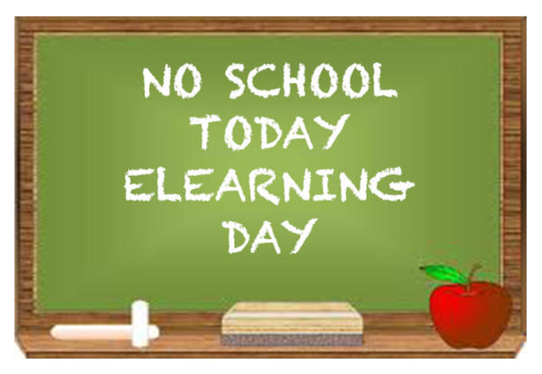 NO SCHOOL TODAY ELEARNING DAY on green chalkboard with eraser, apple, and chalk image