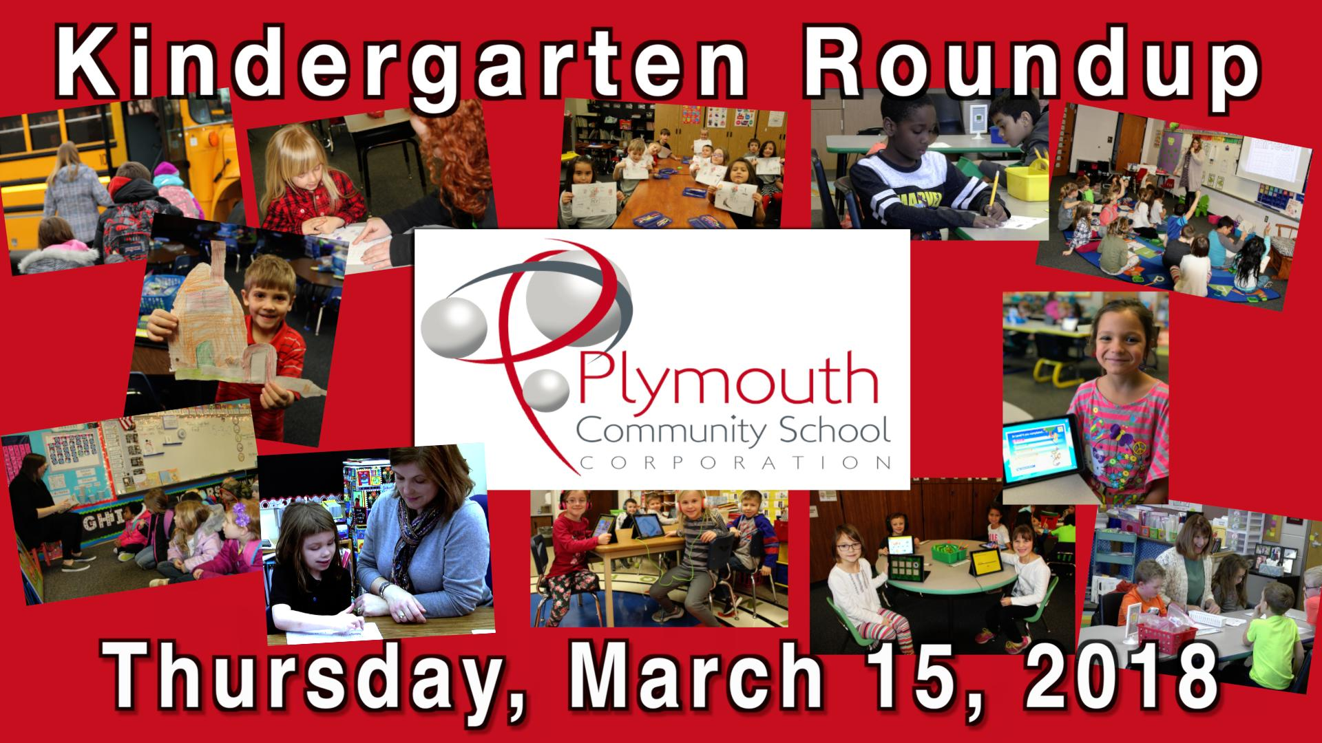 Kindergarten Roundup Thursday, March 15, 2018 with PCSC logo and pictures of students