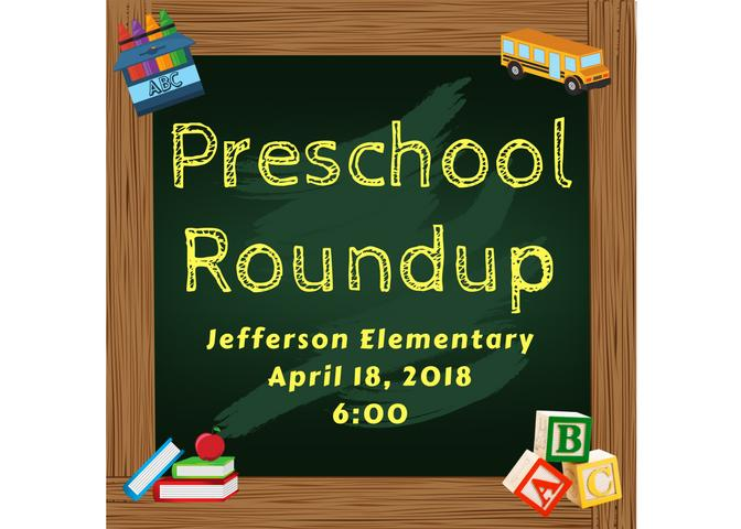 Preschool Roundup  April 18, 2018 at 6:00 p.m.-green chalkboard with books, crayons, blocks, and bus image