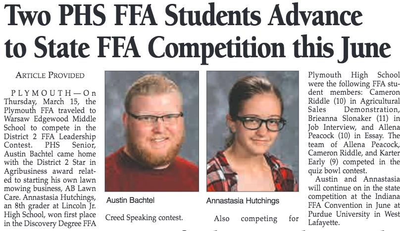 This Phs To Competition State Two Ffa The Pcsc Advance June Media Students In
