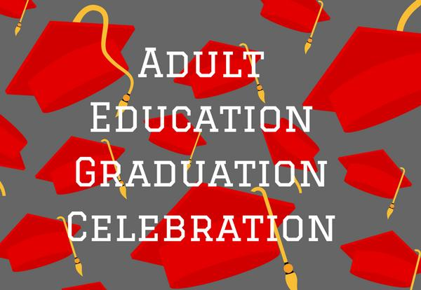 Adult Education Graduation Celebration with red graduation caps on a grey background image