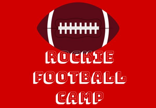 Football image on red background with Rockie Football Camp white text