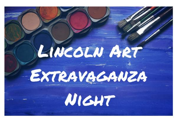 Lincoln Art Extravaganza Night with blue background and paint and brushed images