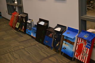 Bat houses that WSOI students painted.