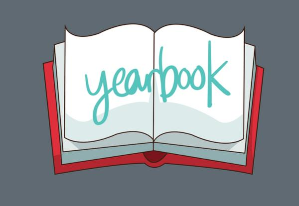 Yearbook written on book with red cover image