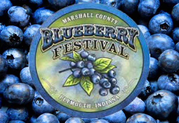 Marshall County Blueberry Festival Logo with blueberries image