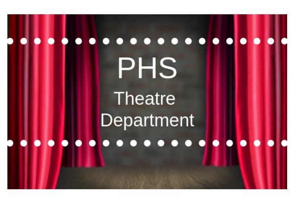 PHS Theatre Department on maroon stage curtain image