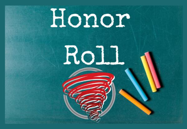 Honor Roll on green chalkboard with colored chalk image and Red Storm Logo