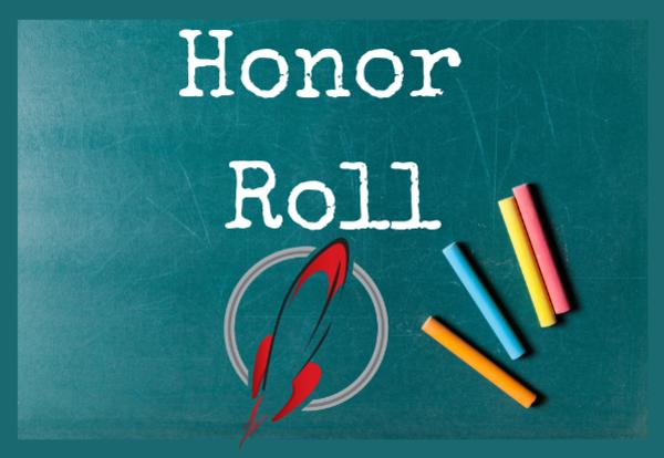 Honor Roll on green chalkboard with colored chalk image with Rocket logo