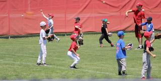 Kids playing catch on baseball field