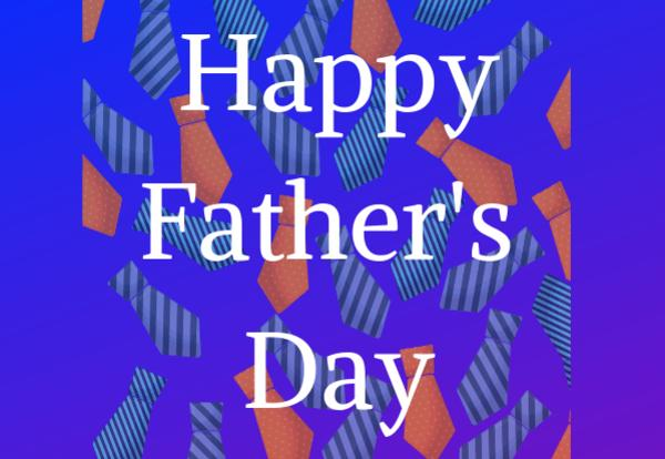 Happy Father's Day text on tie image and blue background