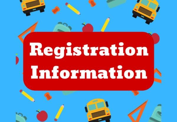 Registration Information on a red rectangle with a blue background with school, pencils, sharpeners, rulers, backpacks, and apple images