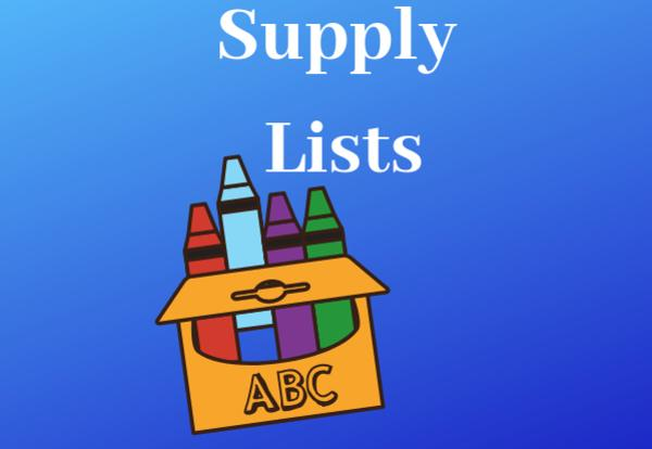 Supply Lists on a blue background with a box of crayons image