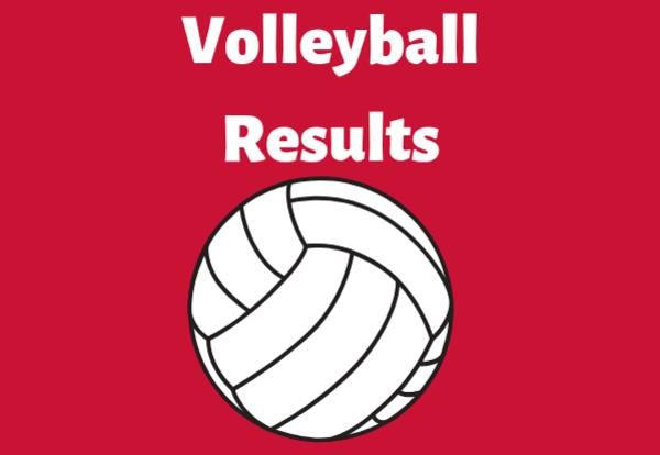 Volleyball Results on red background