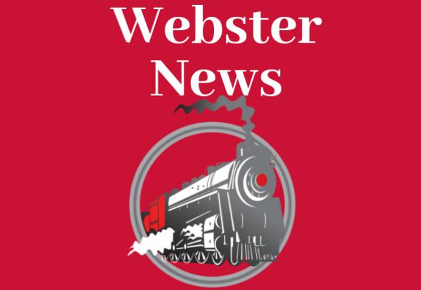 Webster News on a red background with Webster Train Logo