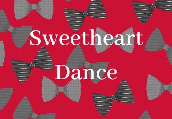 Red background bowties and Sweetheart Dance