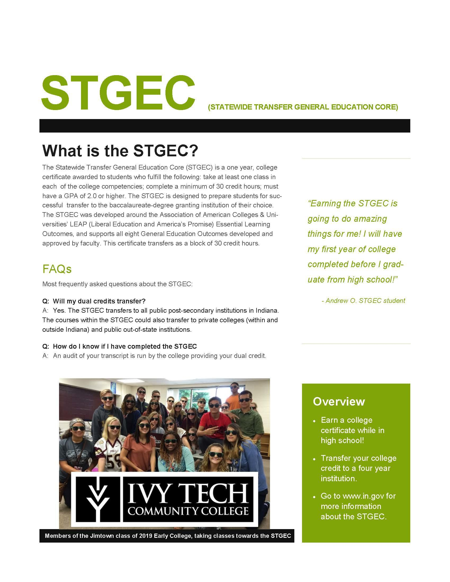 STGEC STATEWIDE TRANSFER GENERAL EDUCATION CORE - image of PDF that is attached and posted below