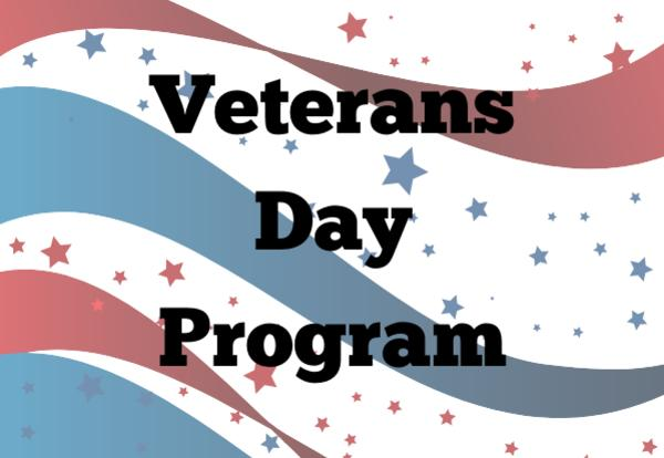 Veterans Day Program on red, white, and blue background