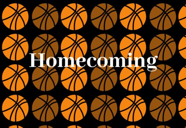 Homecoming with basketballs background