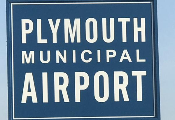 Plymouth Municipal Airport sign