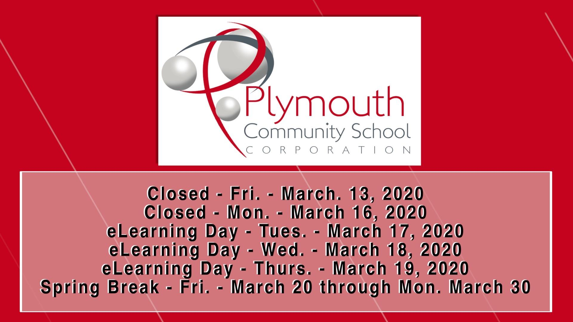 Closed-PCSC logo-Friday, March 13, 2020 and Monday, March 16, 2020-eLearning days Tuesday, March 17, Wednesday, March 18, Thursday, March 19, Spring Break Friday, March 20 through Monday, March 30