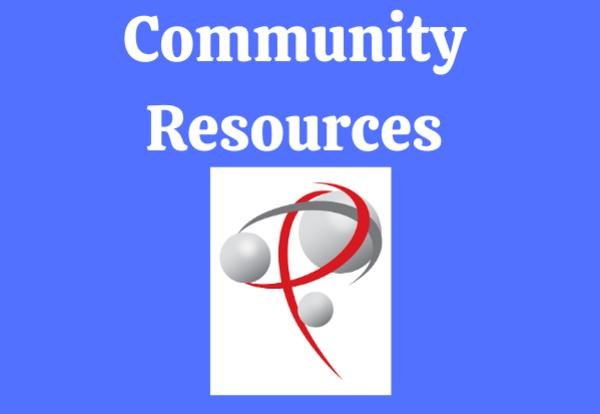 Community Resources with P logo on blue background