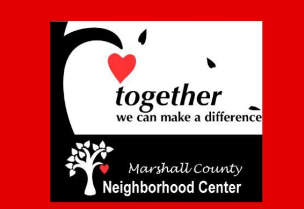 together we can make a difference-Marshall County Neighborhood Center logo with tree and heart image on red background