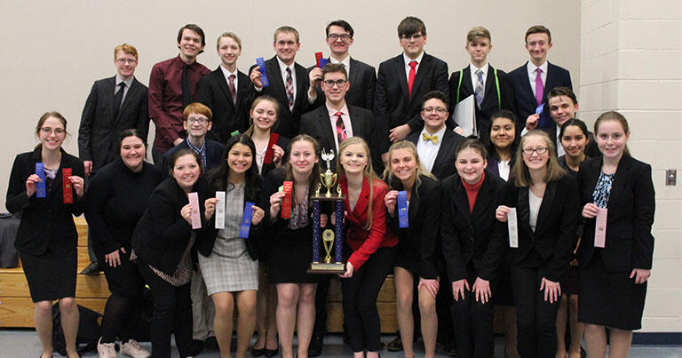 PHS Speech Team with trophy