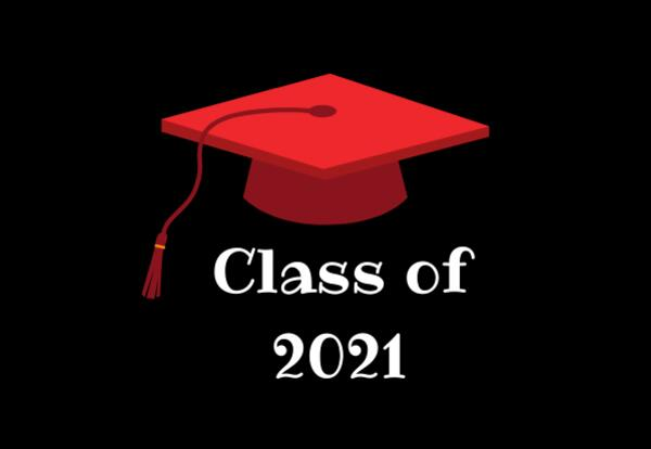 Class of 2021 with red graduation cap on black background
