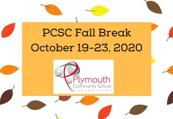 PCSC Fall Break October 19-23, 2020 with PCSC logo on leaf background