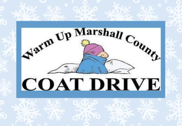 Warm Up Marshall County Coat Drive with snowflake background