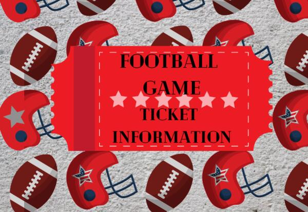 Football Game Ticket Information with ticket image and footballs and helmets background