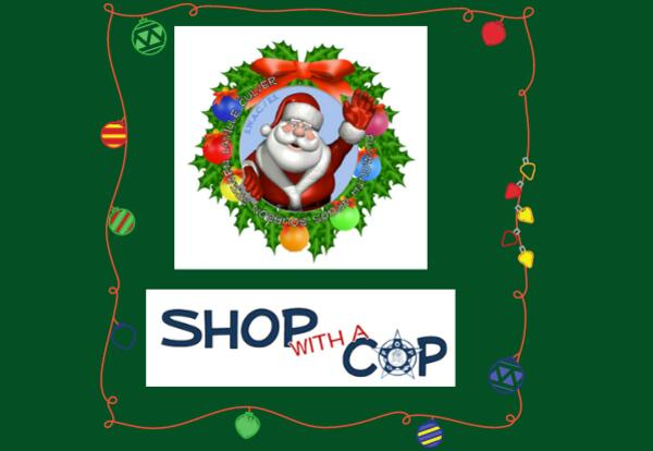 Shop with a Cop logo and Santa in wreath image