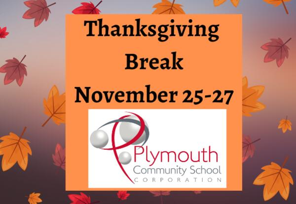 Thanksgiving Break November 25-27 with leaf background and PCSC logo