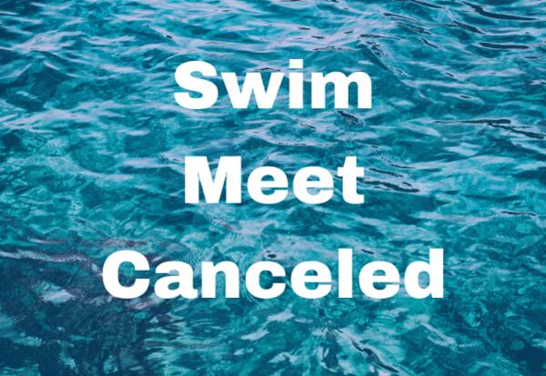 Swim Meet Canceled on water background