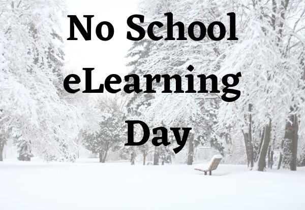 No School eLearning Day with snow covered trees image