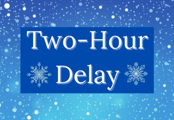 Two Hour Delay on on blue snowflake background