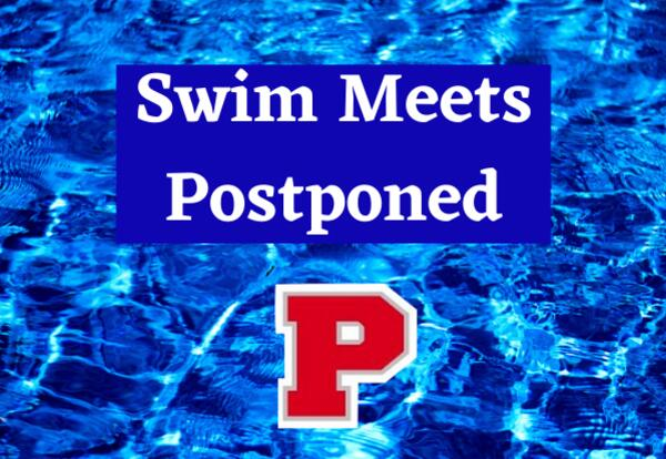 Swim Meets Postponed with P logo