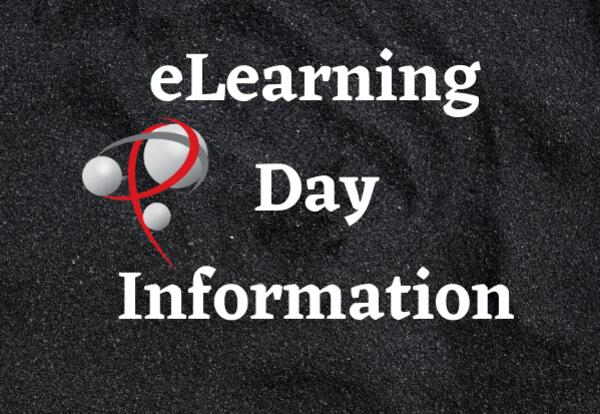 eLearning Day Information with black background and P logo