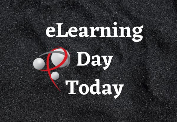eLearning Day Today on black background with P logo