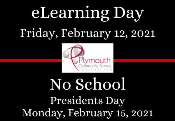 eLearning Day Friday, February 12, 2021 PCSC logo No School Presidents Day Monday, February 15, 2021 on black background