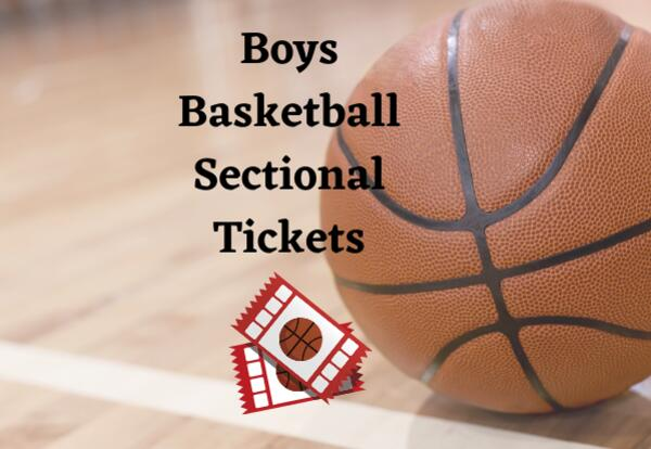 Boys Basketball Sectional Tickets on a court with basketball and tickets images