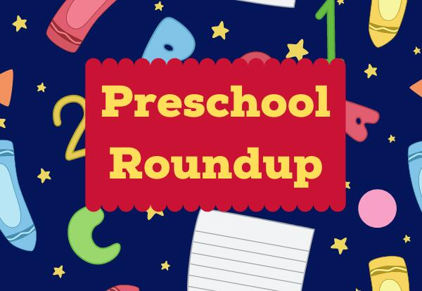 Preschool Roundup with dark blue background with school images