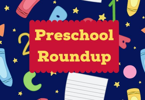 Preschool Roundup on dark blue background with school supply images