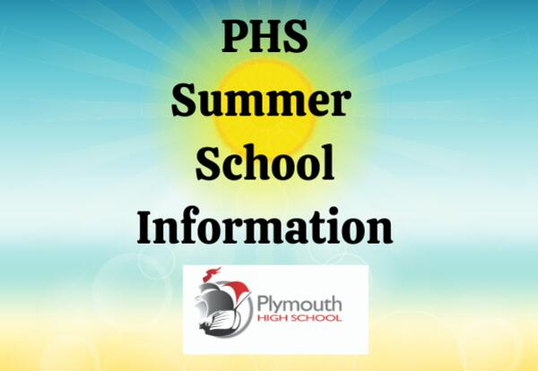 PHS Summer School Information with PHS Logo on sunny beach background