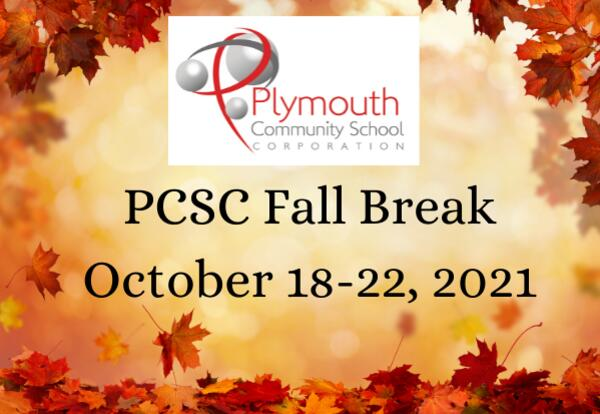 PCSC Fall Break October 18-October 22, 2021 on leaves background and with PCSC Logo